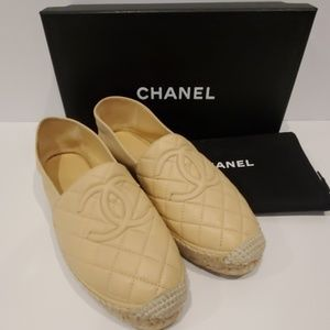 Chanel s18 quilted leather espadrilles